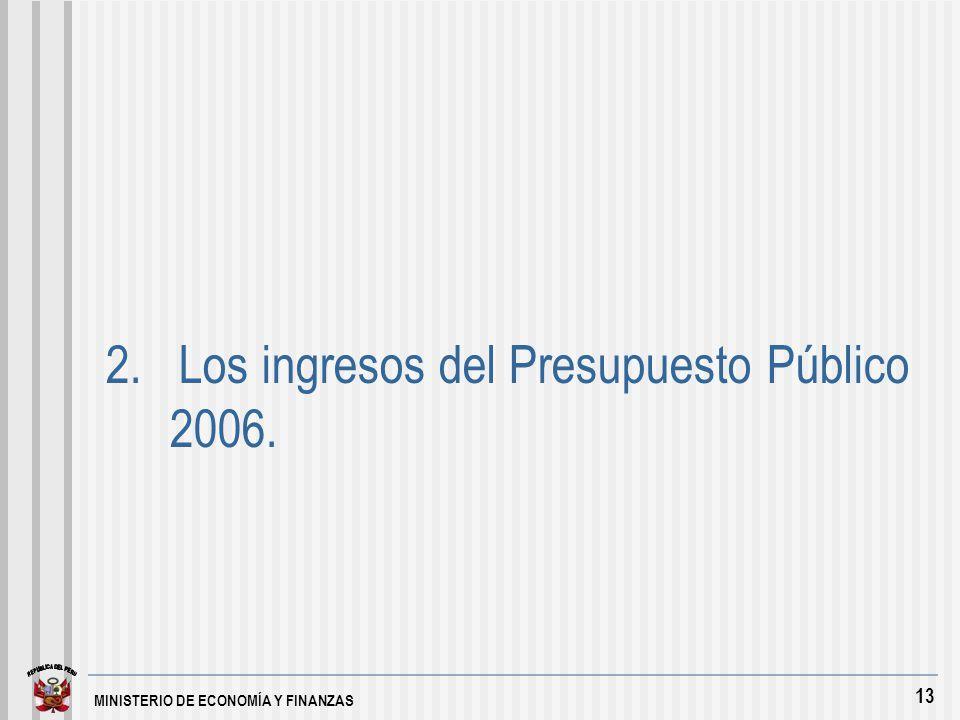 MINISTERIO DE ECONOMÍA Y FINANZAS 13 2. Los ingresos del Presupuesto Público 2006.