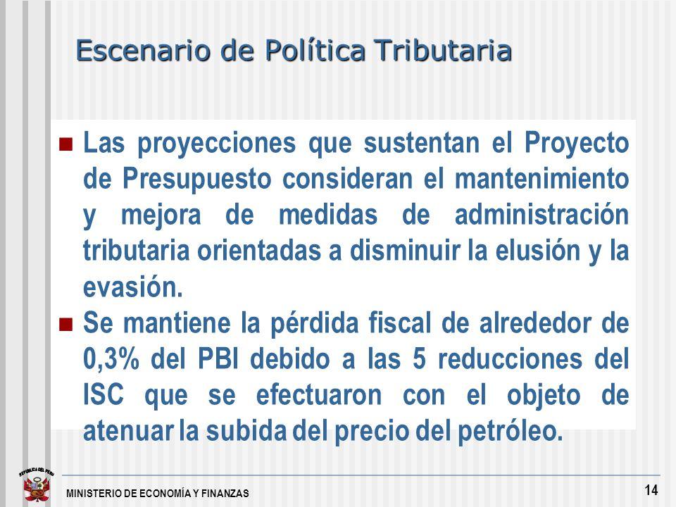 MINISTERIO DE ECONOMÍA Y FINANZAS 14 Escenario de Política Tributaria Las proyecciones que sustentan el Proyecto de Presupuesto consideran el mantenimiento y mejora de medidas de administración tributaria orientadas a disminuir la elusión y la evasión.