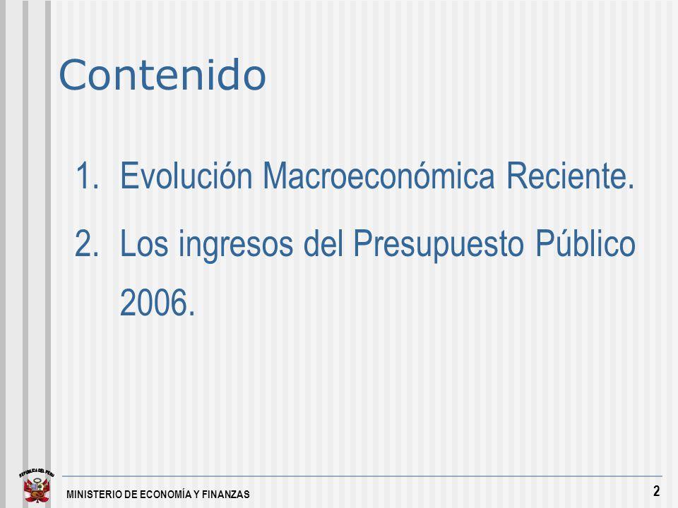 MINISTERIO DE ECONOMÍA Y FINANZAS 3 1.Evolución Macroeconómica Reciente.