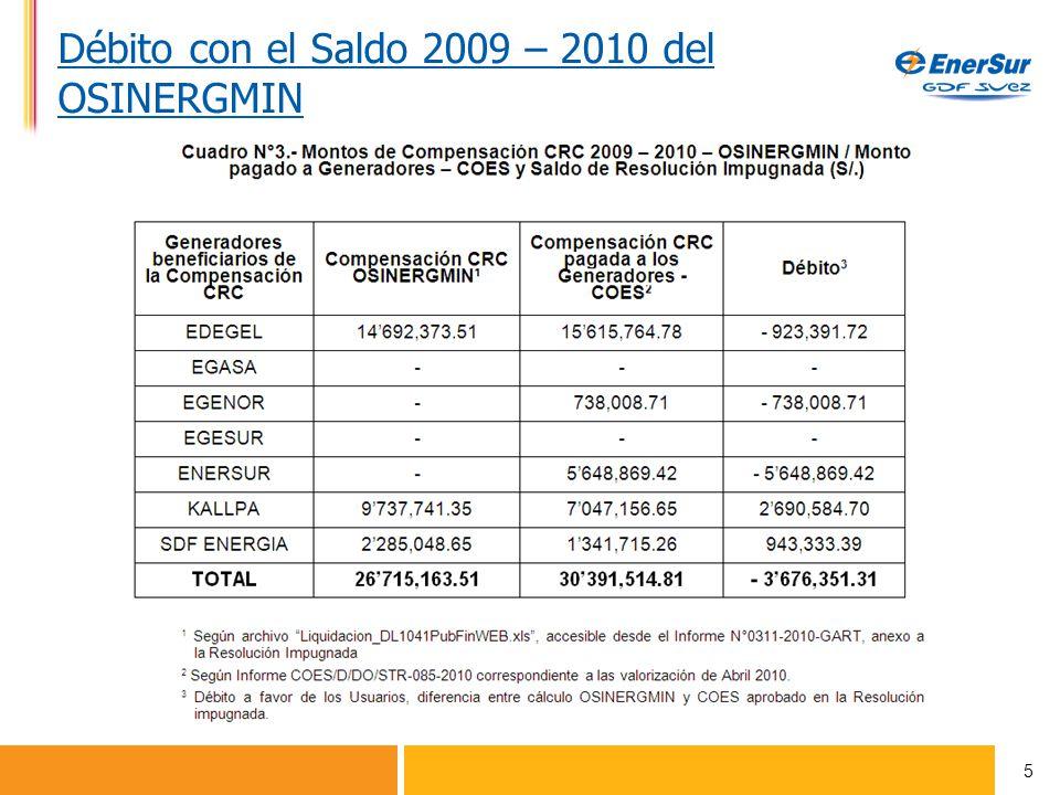 Débito con el Saldo 2009 – 2010 del OSINERGMIN 5