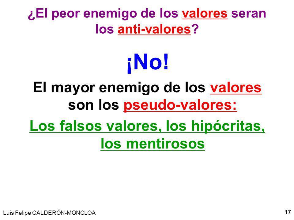 Luis Felipe CALDERÓN-MONCLOA 17 ¿El peor enemigo de los valores seran los anti-valores.