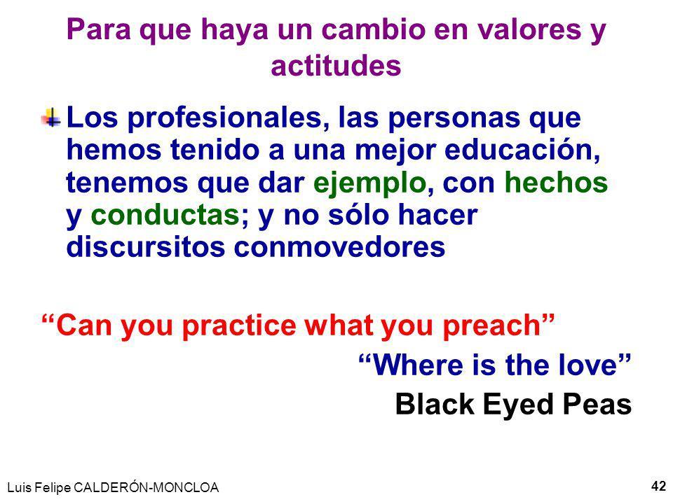 Luis Felipe CALDERÓN-MONCLOA 42 Para que haya un cambio en valores y actitudes Los profesionales, las personas que hemos tenido a una mejor educación, tenemos que dar ejemplo, con hechos y conductas; y no sólo hacer discursitos conmovedores Can you practice what you preach Where is the love Black Eyed Peas