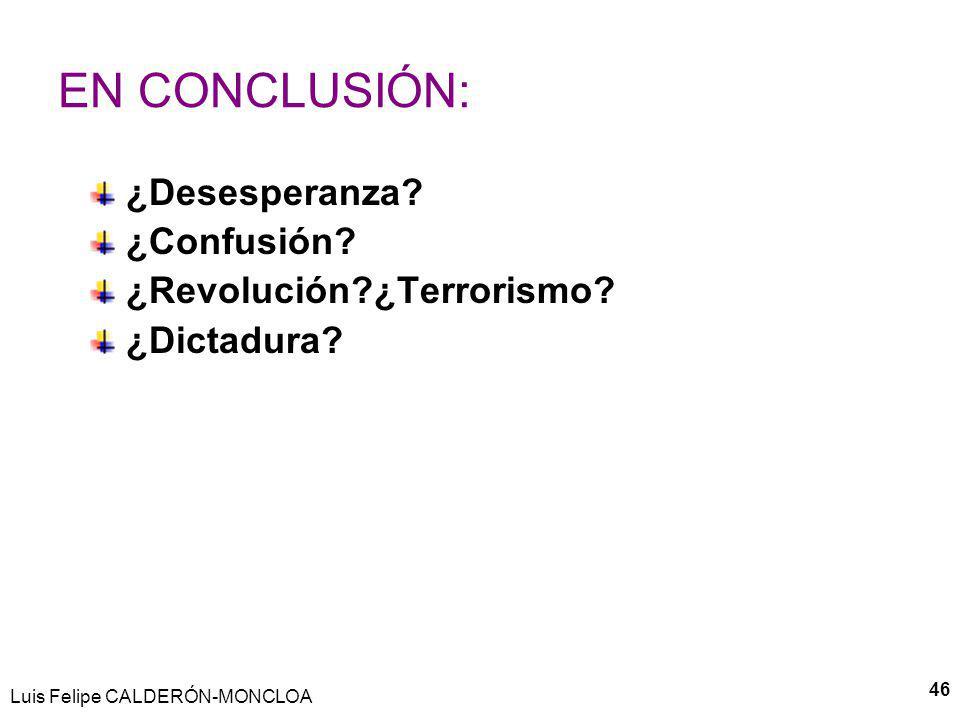 46 EN CONCLUSIÓN: ¿Desesperanza? ¿Confusión? ¿Revolución?¿Terrorismo? ¿Dictadura?