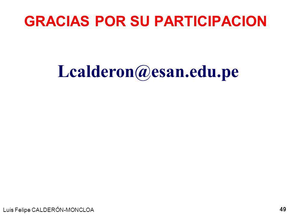 Luis Felipe CALDERÓN-MONCLOA 49 GRACIAS POR SU PARTICIPACION Lcalderon@esan.edu.pe