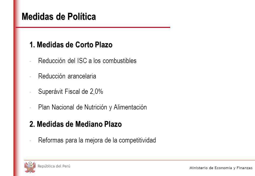 Ministerio de Economía y Finanzas República del Perú Medidas de Política 1. Medidas de Corto Plazo - Reducción del ISC a los combustibles - Reducción