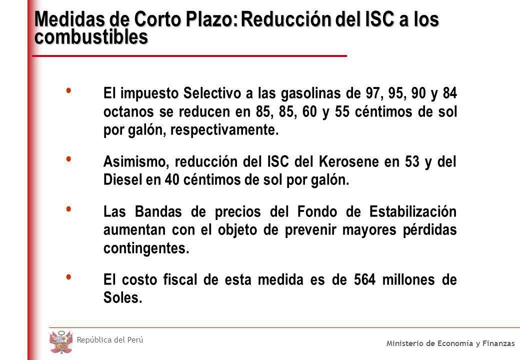 Ministerio de Economía y Finanzas República del Perú Medidas de Corto Plazo: Reducción del ISC a los combustibles El impuesto Selectivo a las gasolina