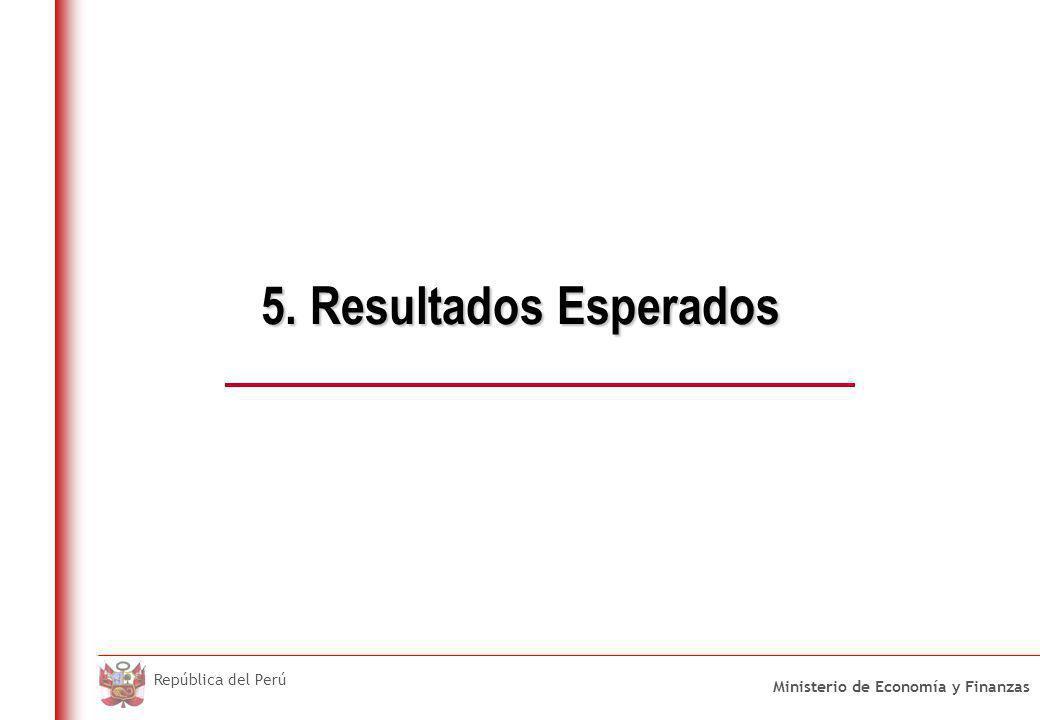 Ministerio de Economía y Finanzas República del Perú 5. Resultados Esperados