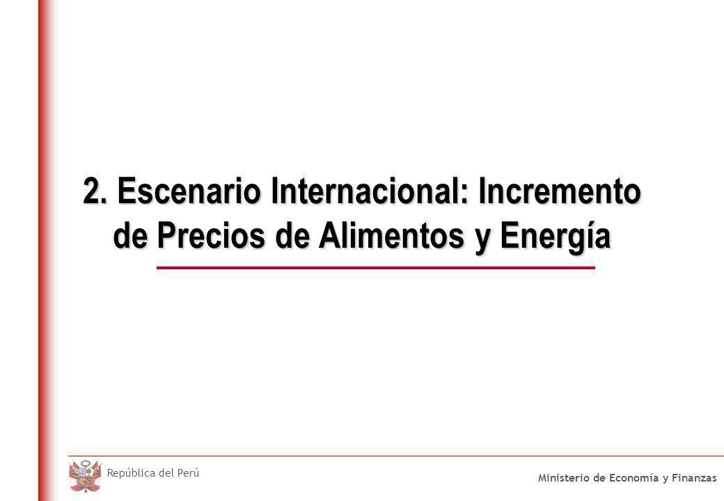Ministerio de Economía y Finanzas República del Perú 2. Escenario Internacional: Incremento de Precios de Alimentos y Energía