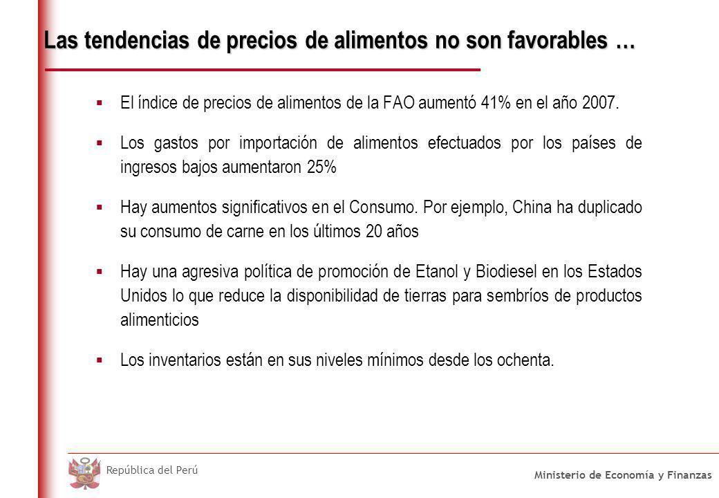 Ministerio de Economía y Finanzas República del Perú Las tendencias de precios de alimentos no son favorables … El índice de precios de alimentos de l