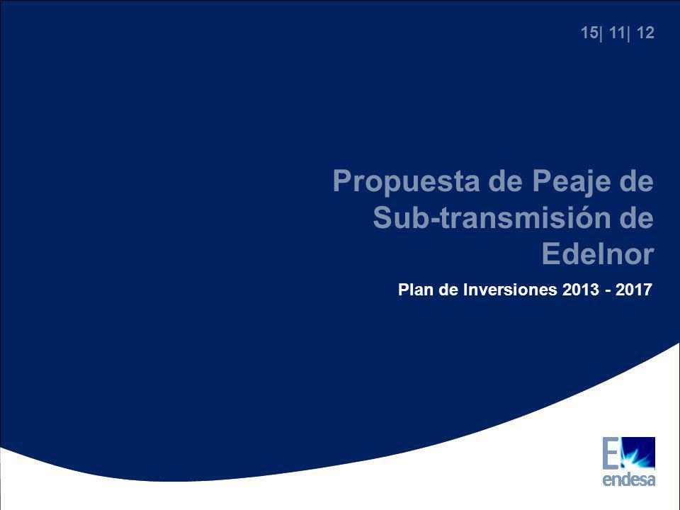 Propuesta de Peaje de Sub-transmisión de Edelnor Plan de Inversiones 2013 - 2017 15| 11| 12