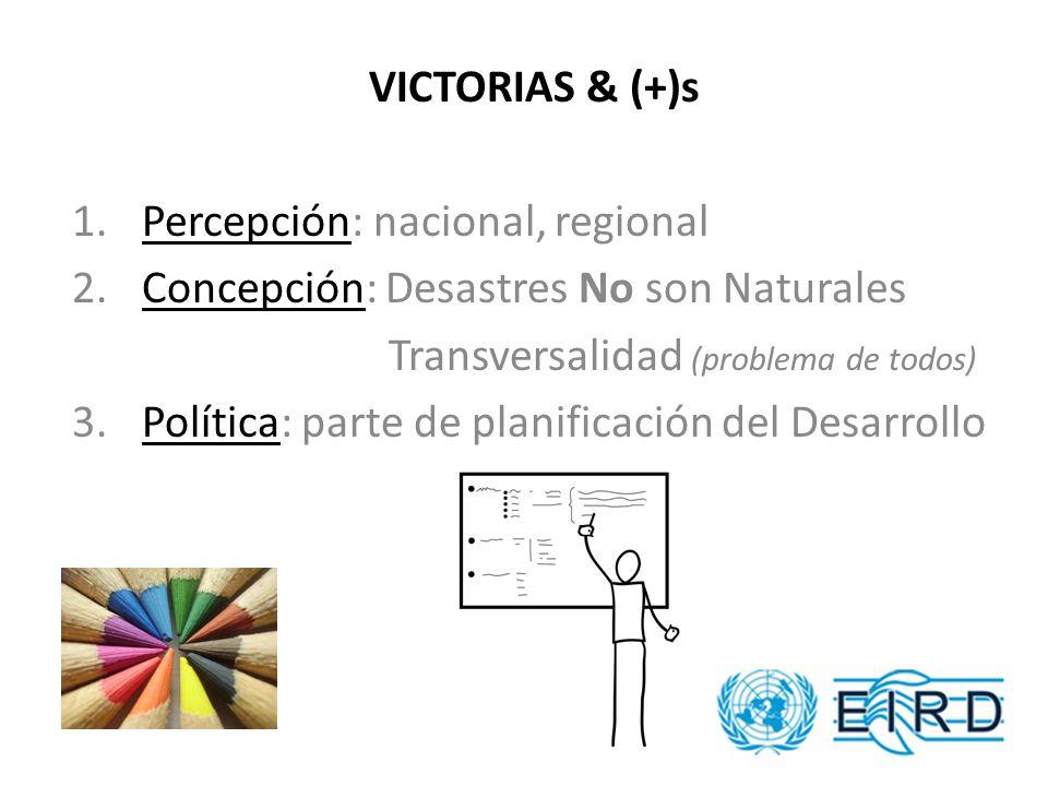 VICTORIAS & (+)s 1. Percepción: nacional, regional 2.