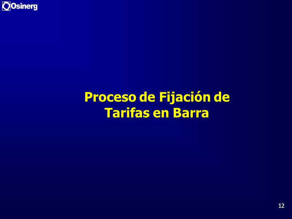 12 Proceso de Fijación de Tarifas en Barra