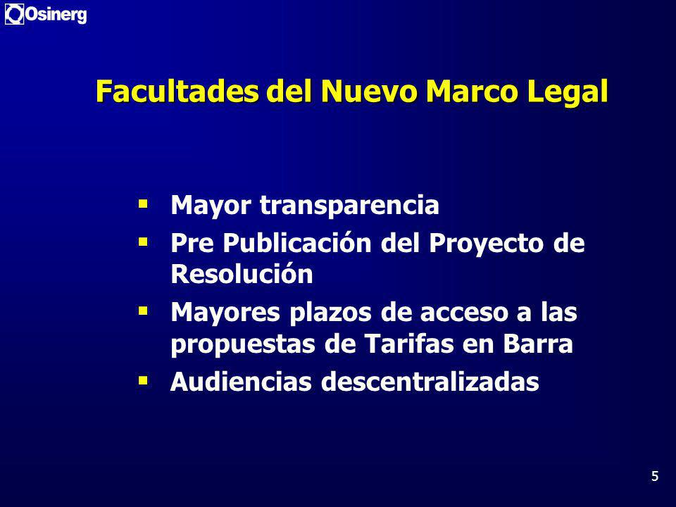 5 Facultades del Nuevo Marco Legal Mayor transparencia Pre Publicación del Proyecto de Resolución Mayores plazos de acceso a las propuestas de Tarifas en Barra Audiencias descentralizadas