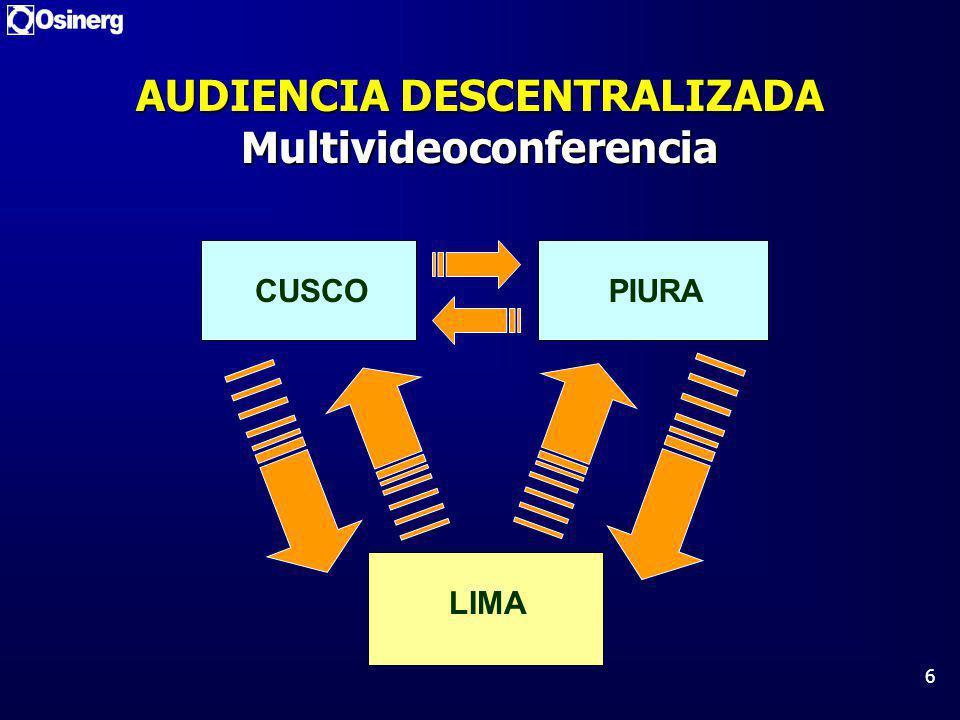 6 AUDIENCIA DESCENTRALIZADA Multivideoconferencia LIMA PIURA CUSCO
