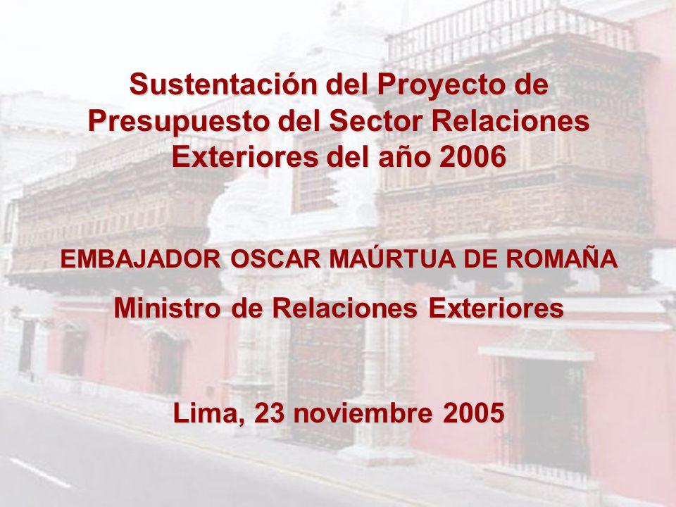 Sustentación del Proyecto de Presupuesto del Sector Relaciones Exteriores del año 2006 EMBAJADOR OSCAR MAÚRTUA DE ROMAÑA Ministro de Relaciones Exteriores Lima, 23 noviembre 2005