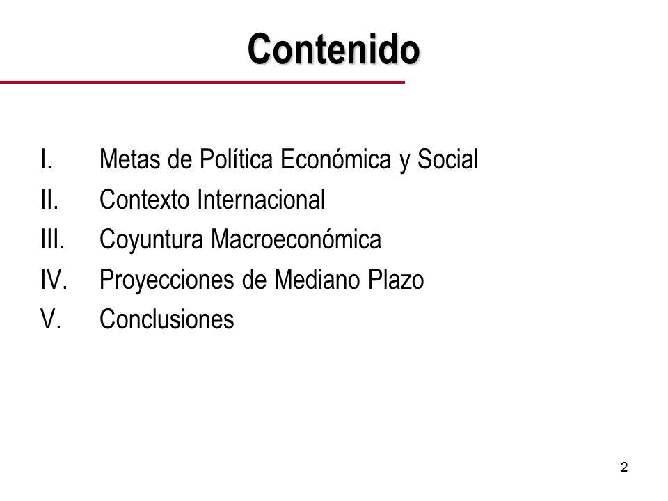 22 Contenido I.Metas de Política Económica y Social II.Contexto Internacional III.Coyuntura Macroeconómica IV.Proyecciones de Mediano Plazo V.Conclusiones