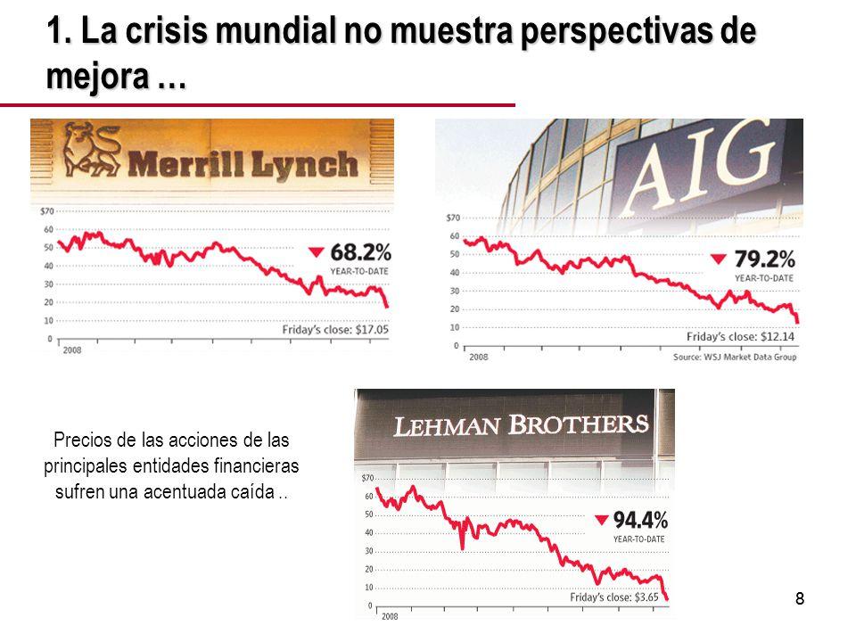 88 Precios de las acciones de las principales entidades financieras sufren una acentuada caída..