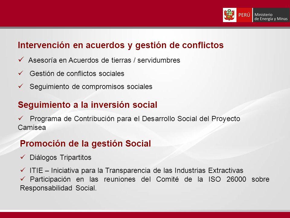 Intervención en acuerdos y gestión de conflictos Asesoría en Acuerdos de tierras / servidumbres Gestión de conflictos sociales Seguimiento de compromi