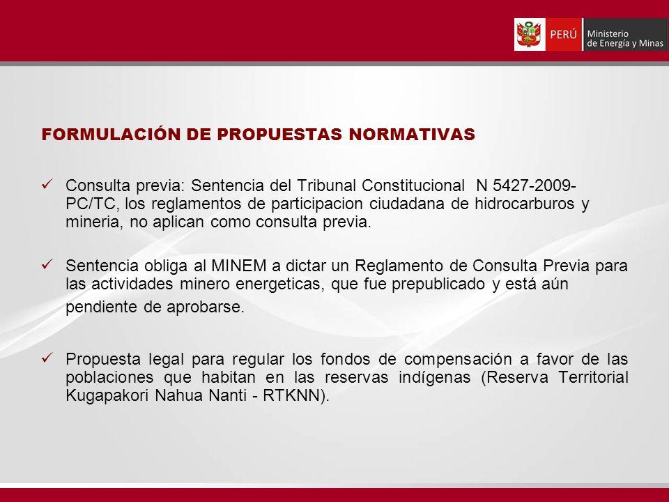 FORMULACIÓN DE PROPUESTAS NORMATIVAS Consulta previa: Sentencia del Tribunal Constitucional N 5427-2009- PC/TC, los reglamentos de participacion ciuda