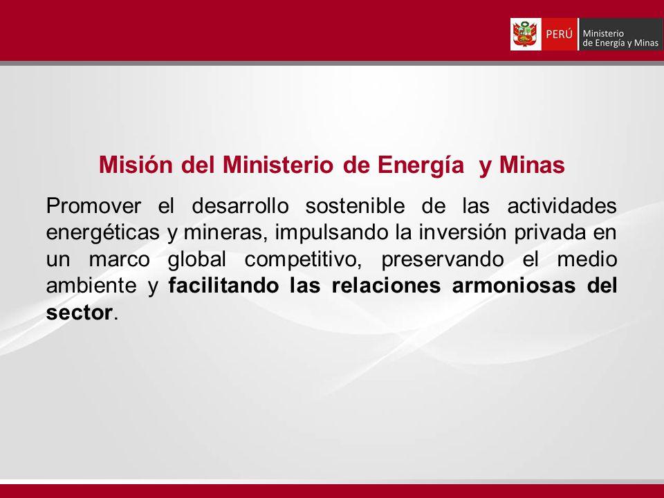 Misión del Ministerio de Energía y Minas Promover el desarrollo sostenible de las actividades energéticas y mineras, impulsando la inversión privada e