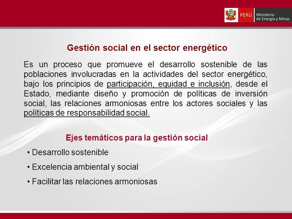 Es un proceso que promueve el desarrollo sostenible de las poblaciones involucradas en la actividades del sector energético, bajo los principios de pa