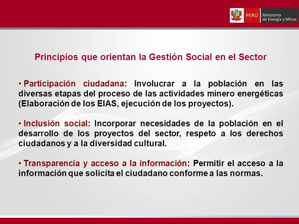 Principios que orientan la Gestión Social en el Sector Participación ciudadana: Involucrar a la población en las diversas etapas del proceso de las ac