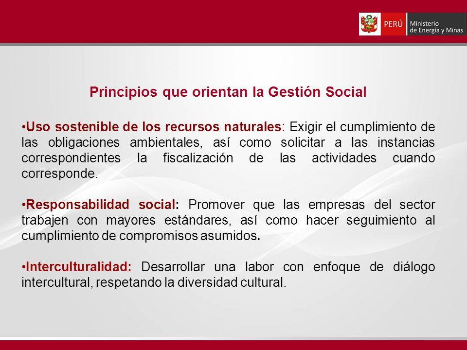 Principios que orientan la Gestión Social Uso sostenible de los recursos naturales: Exigir el cumplimiento de las obligaciones ambientales, así como s