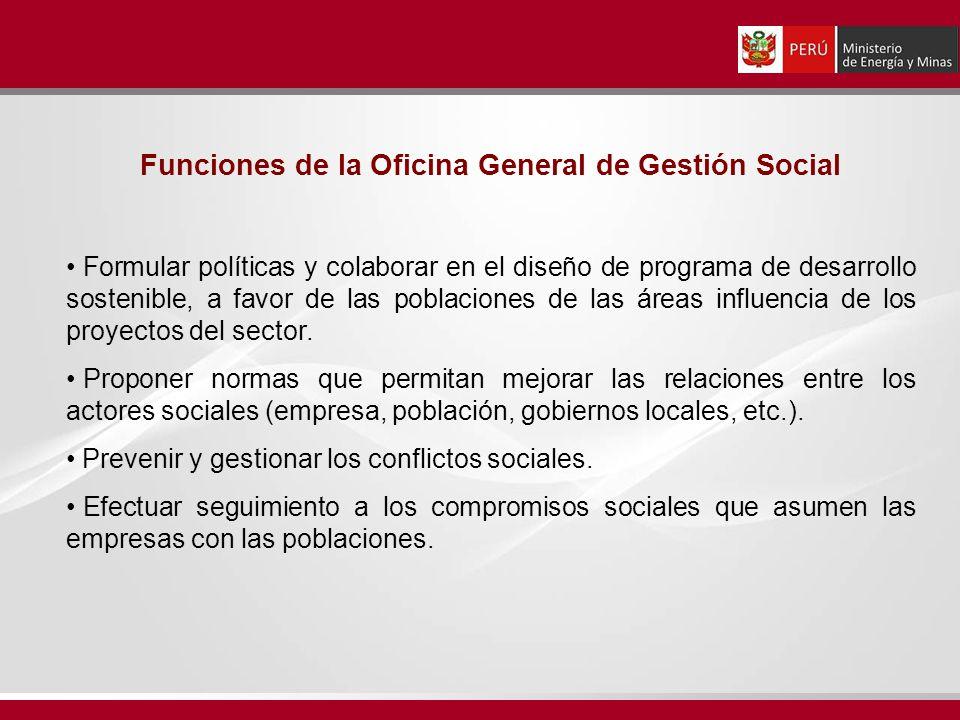Funciones de la Oficina General de Gestión Social Formular políticas y colaborar en el diseño de programa de desarrollo sostenible, a favor de las pob