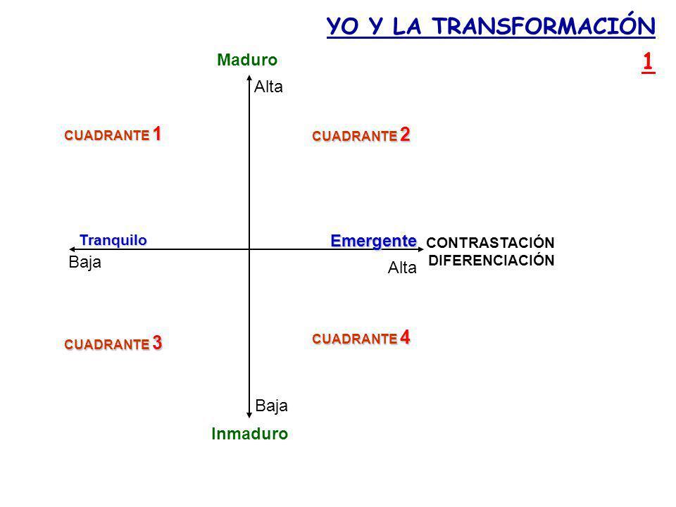 Maduro Emergente Tranquilo Inmaduro CUADRANTE 1 CUADRANTE 2 CUADRANTE 3 CUADRANTE 4 YO Y LA TRANSFORMACIÓN 1 CONTRASTACIÓN DIFERENCIACIÓN Baja Alta Baja Alta