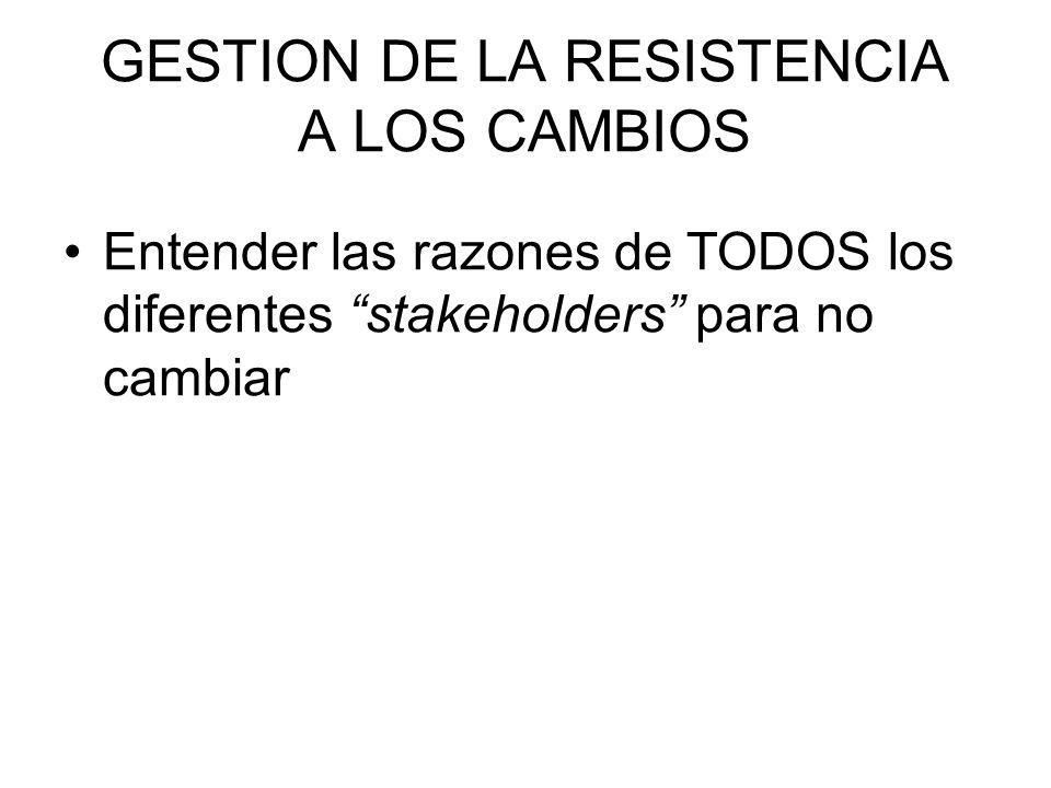 GESTION DE LA RESISTENCIA A LOS CAMBIOS Entender las razones de TODOS los diferentes stakeholders para no cambiar