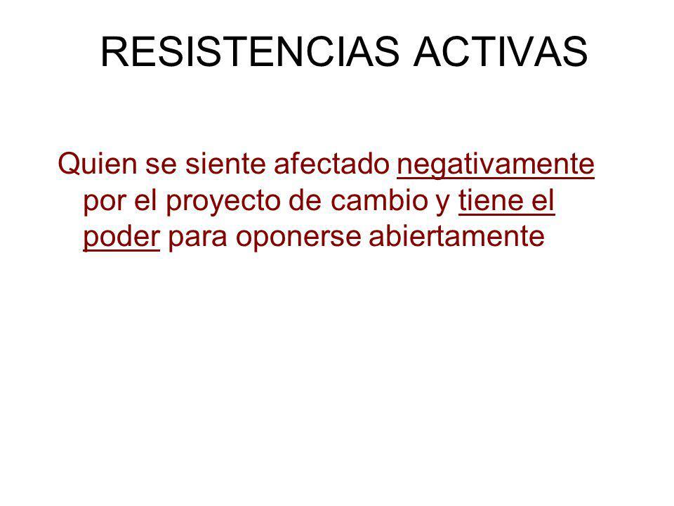 RESISTENCIAS ACTIVAS Quien se siente afectado negativamente por el proyecto de cambio y tiene el poder para oponerse abiertamente