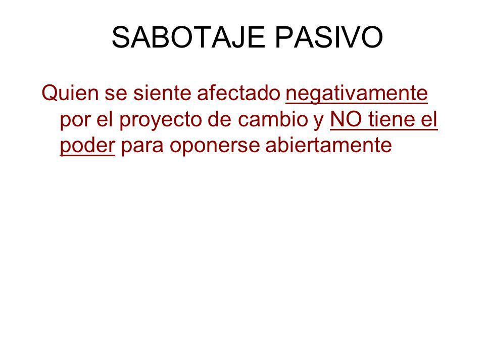SABOTAJE PASIVO Quien se siente afectado negativamente por el proyecto de cambio y NO tiene el poder para oponerse abiertamente