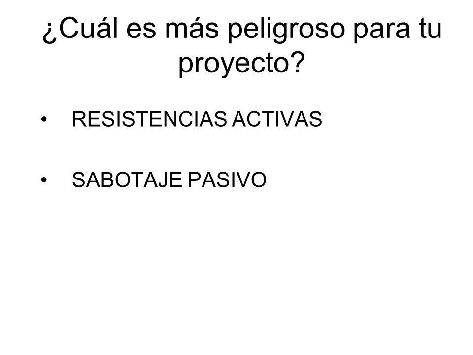 ¿Cuál es más peligroso para tu proyecto? RESISTENCIAS ACTIVAS SABOTAJE PASIVO