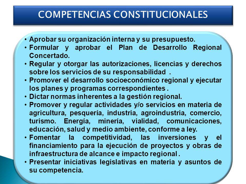 Aprobar su organización interna y su presupuesto. Formular y aprobar el Plan de Desarrollo Regional Concertado. Regular y otorgar las autorizaciones,