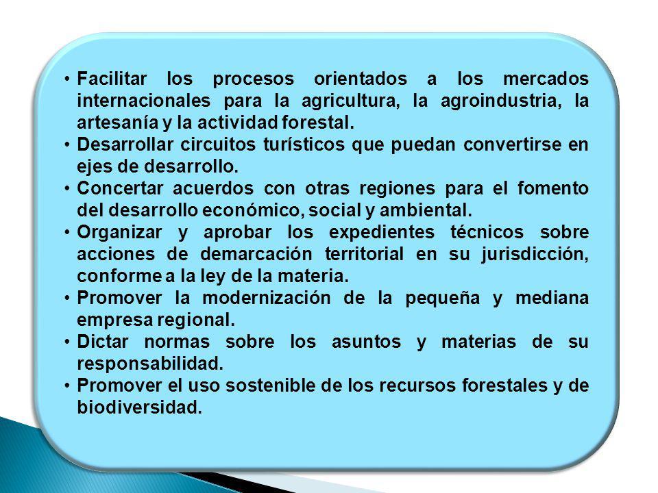 Facilitar los procesos orientados a los mercados internacionales para la agricultura, la agroindustria, la artesanía y la actividad forestal. Desarrol