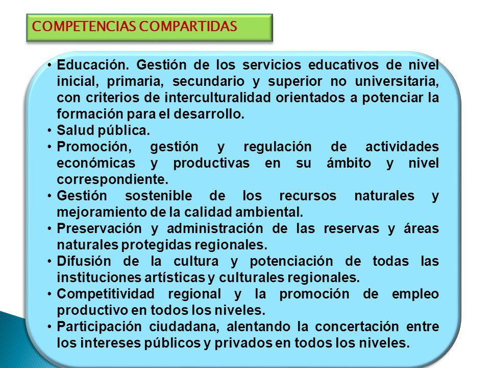 COMPETENCIAS COMPARTIDAS Educación. Gestión de los servicios educativos de nivel inicial, primaria, secundario y superior no universitaria, con criter