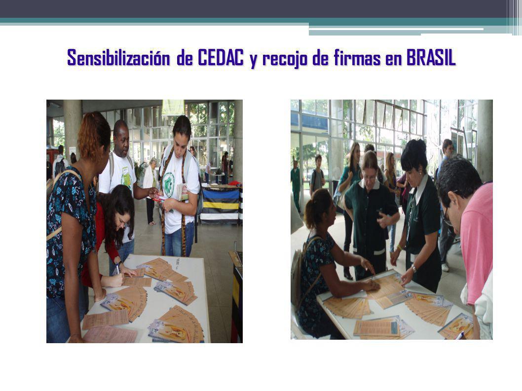 Sensibilización de CEDAC y recojo de firmas en BRASIL