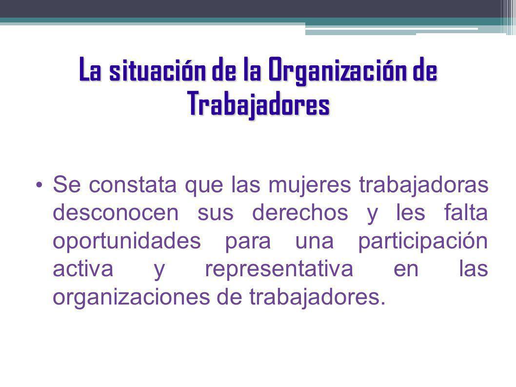 La situación de la Organización de Trabajadores Se constata que las mujeres trabajadoras desconocen sus derechos y les falta oportunidades para una participación activa y representativa en las organizaciones de trabajadores.