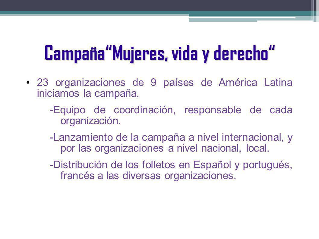 CampañaMujeres, vida y derecho 23 organizaciones de 9 países de América Latina iniciamos la campaña. -Equipo de coordinación, responsable de cada orga