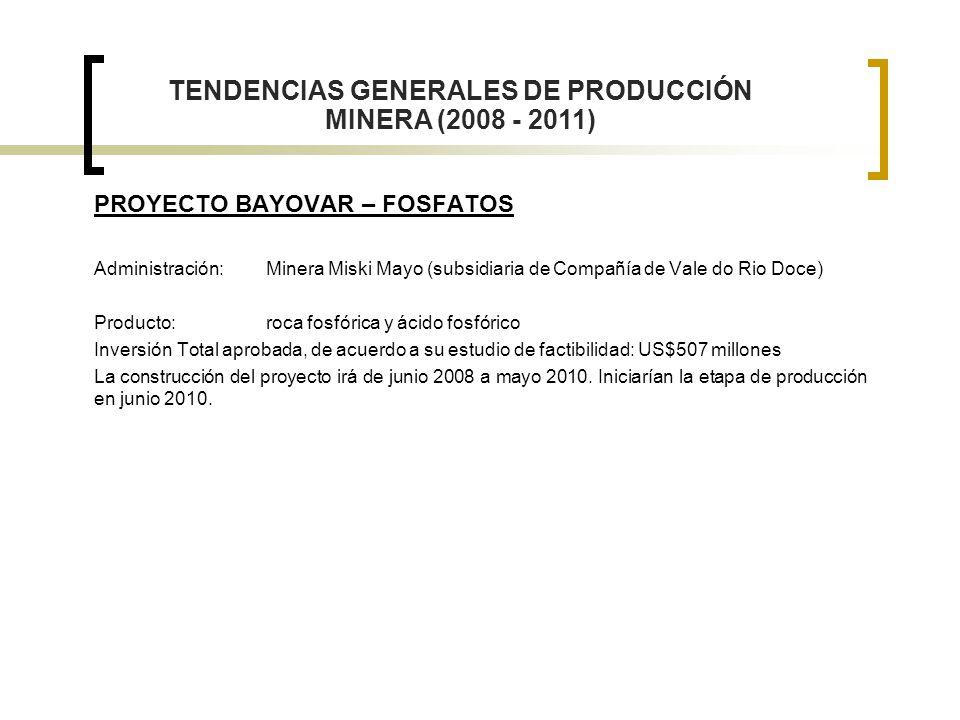 PROYECTO BAYOVAR – FOSFATOS Administración:Minera Miski Mayo (subsidiaria de Compañía de Vale do Rio Doce) Producto: roca fosfórica y ácido fosfórico