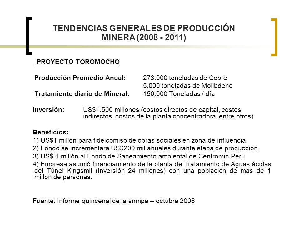 PROYECTO TOROMOCHO Producción Promedio Anual: 273.000 toneladas de Cobre 5.000 toneladas de Molibdeno Tratamiento diario de Mineral: 150.000 Toneladas