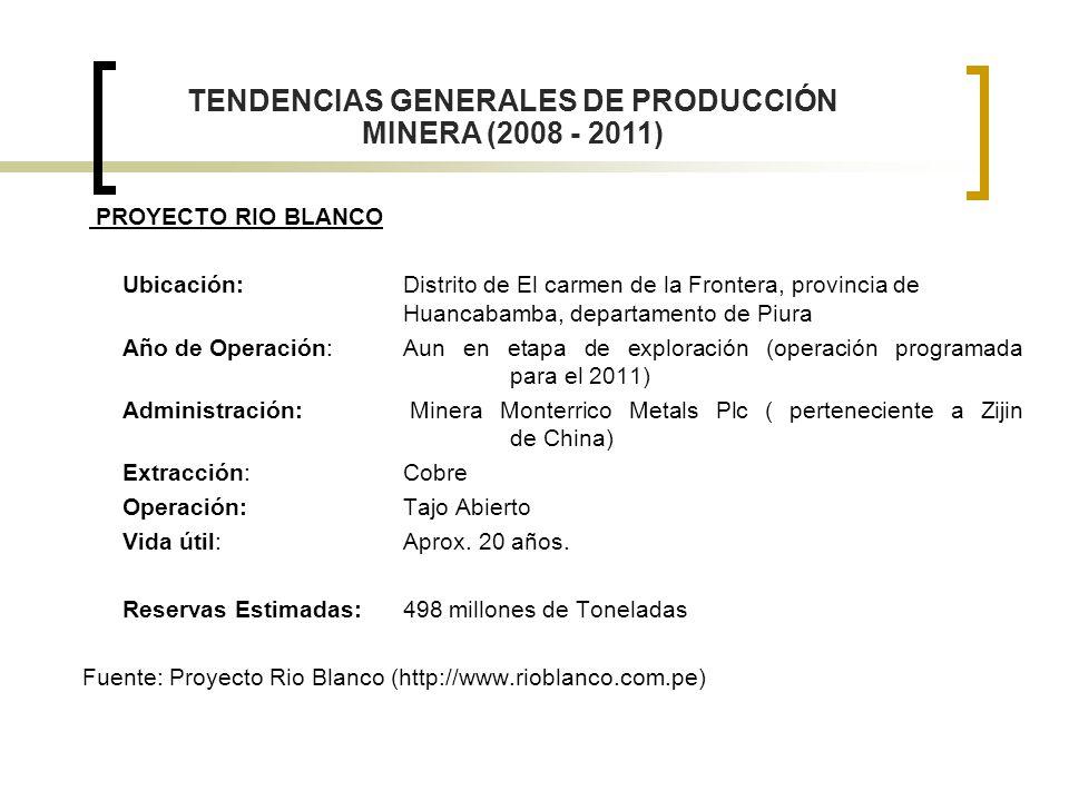 PROYECTO RIO BLANCO Ubicación: Distrito de El carmen de la Frontera, provincia de Huancabamba, departamento de Piura Año de Operación: Aun en etapa de