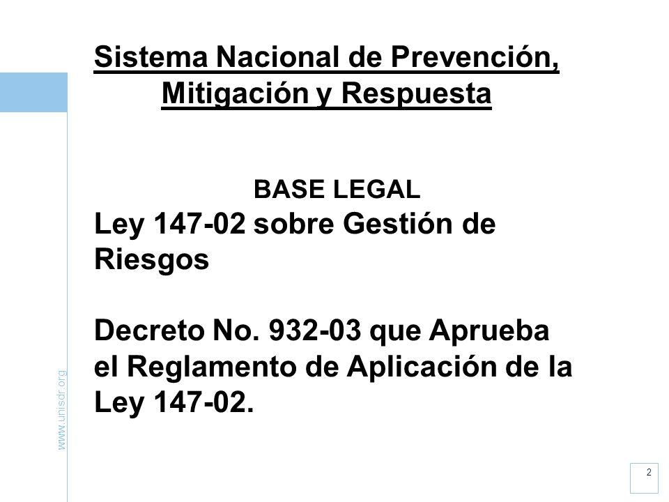 www.unisdr.org 2 Sistema Nacional de Prevención, Mitigación y Respuesta BASE LEGAL Ley 147-02 sobre Gestión de Riesgos Decreto No.