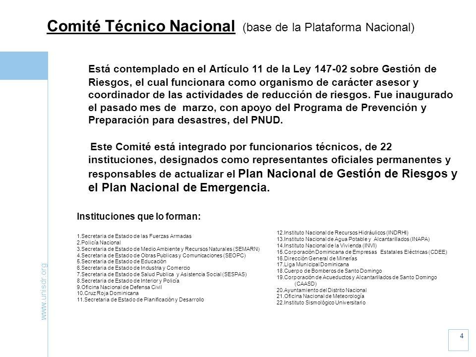 www.unisdr.org 4 Comité Técnico Nacional (base de la Plataforma Nacional) Está contemplado en el Artículo 11 de la Ley 147-02 sobre Gestión de Riesgos, el cual funcionara como organismo de carácter asesor y coordinador de las actividades de reducción de riesgos.