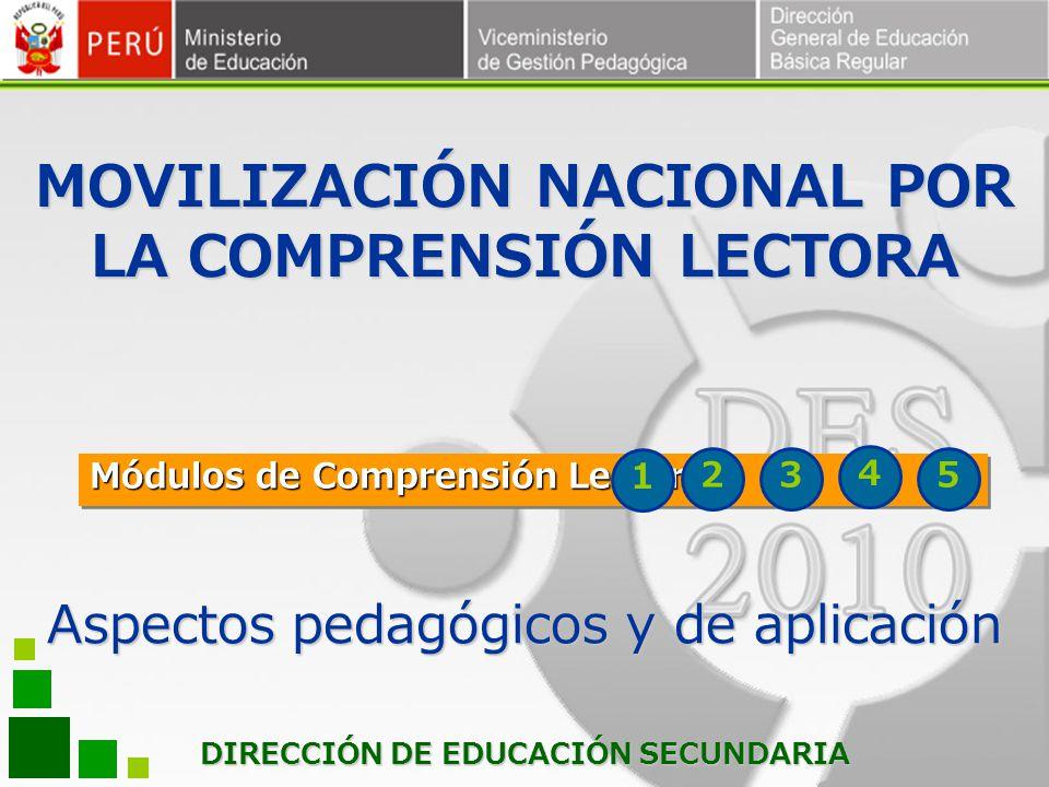 DIRECCIÓN DE EDUCACIÓN SECUNDARIA Módulos de Comprensión Lectora 1 23 Aspectos pedagógicos y de aplicación MOVILIZACIÓN NACIONAL POR LA COMPRENSIÓN LE