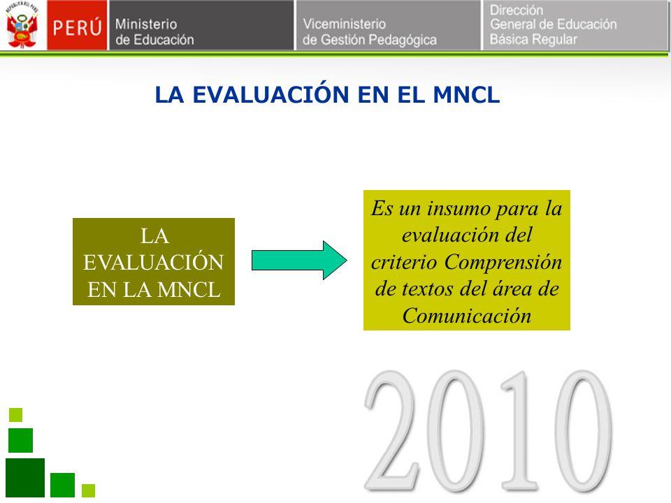 LA EVALUACIÓN EN EL MNCL LA EVALUACIÓN EN LA MNCL Es un insumo para la evaluación del criterio Comprensión de textos del área de Comunicación