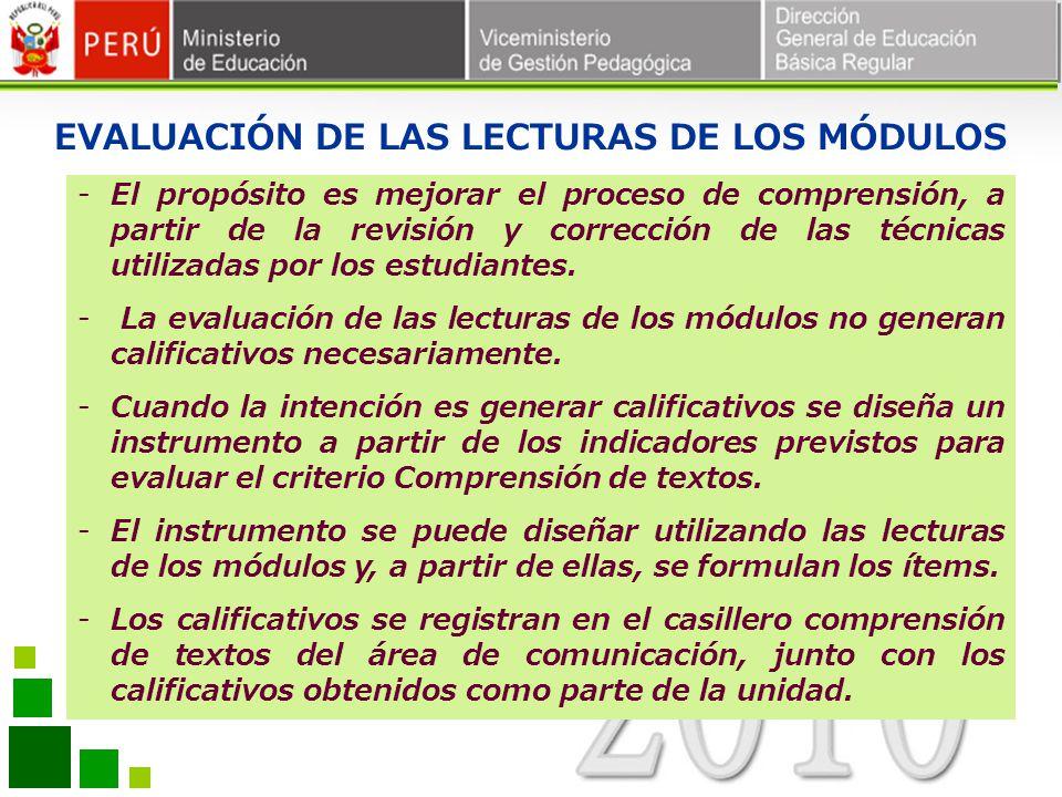 EVALUACIÓN DE LAS LECTURAS DE LOS MÓDULOS -El propósito es mejorar el proceso de comprensión, a partir de la revisión y corrección de las técnicas uti