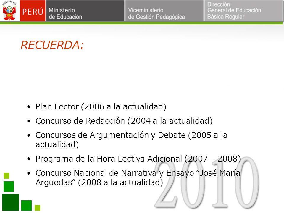 Plan Lector (2006 a la actualidad) Concurso de Redacción (2004 a la actualidad) Concursos de Argumentación y Debate (2005 a la actualidad) Programa de