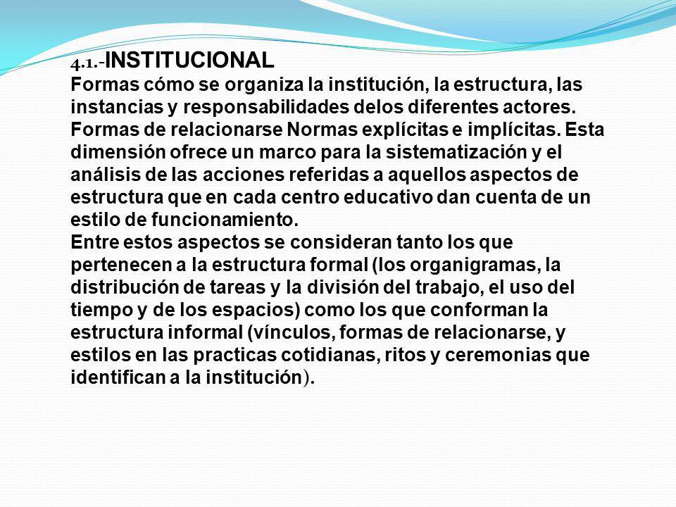 4.1.- INSTITUCIONAL Formas cómo se organiza la institución, la estructura, las instancias y responsabilidades delos diferentes actores. Formas de rela