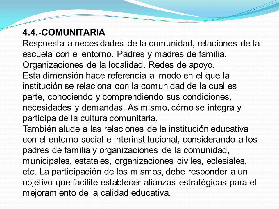 4.4.-COMUNITARIA Respuesta a necesidades de la comunidad, relaciones de la escuela con el entorno. Padres y madres de familia. Organizaciones de la lo